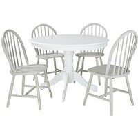 Daisy 107 Cm Round Dining Table + 4 Chairs In White/Grey