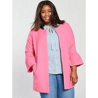 JUNAROSE CURVE Mica Fluted Sleeve Jacket, Azalea Pink, Size 18-20, Women