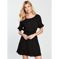 V by Very Frill Slub Jersey Dress - Black, Black, Size 10, Women