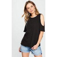 V by Very Cold Shoulder Jersey Top - Black, Black, Size 12, Women