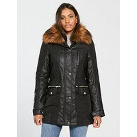 V by Very Premium Faux Leather Panel Parka - Black, Black, Size 22, Women