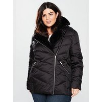 V by Very Curve Padded Biker Coat, Black, Size 16, Women
