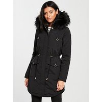V by Very Ultimate Parka With Eyelet Trim - Black, Black, Size 8, Women