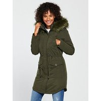 V by Very Ultimate Parka with Eyelet Trim - Green, Khaki, Size 22, Women