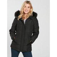 V by Very Short Faux Fur Trim Padded Coat - Black, Black, Size 8, Women