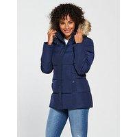 V by Very Short Faux Fur Trim Padded Coat - Navy, Navy, Size 20, Women