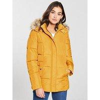 V by Very Short Faux Fur Trim Padded Coat - Mustard, Mustard, Size 8, Women