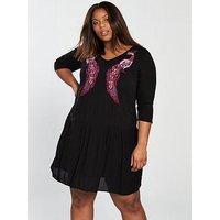 JUNAROSE Curve Makie Oriental Shift Dress, Black Beauty, Size 24, Women