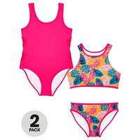 V by Very Girls Crochet Tropical Swimwear Multipack, Multi, Size Age: 12 Years, Women