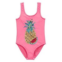 V by Very Sequin Pineapple Swimsuit - Pink , Pink, Size Age: 16 Years, Women