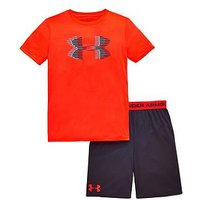 Boys, UNDER ARMOUR BOYS TEE AND SHORTS SET, Red/Grey, Size 11-12 Years