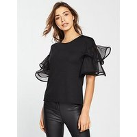 V by Very Woven Frill Crepe Top - Black, Black, Size 12, Women