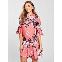 V by Very Asymmetric Hem Dress, Print, Size 16, Women