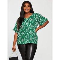 JUNAROSE Duena Short Sleeve Printed Top - Green, Print, Size 14-16, Women