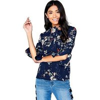 Girls on Film Printed Bow Top - Navy , Navy Print, Size 14, Women