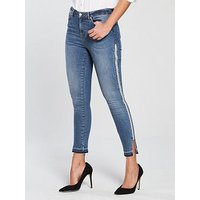 V by Very Ella High Waisted Side Zip Contrast Jeans, Mid Wash, Size 10, Women