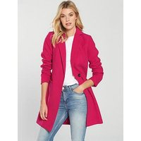 V by Very Slim Fit Single Breasted Coat - Pink, Pink, Size 16, Women