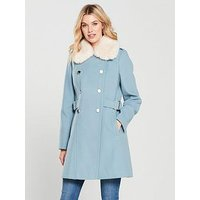 V by Very Faux Fur Trim Double Breasted Coat - Blue, Blue, Size 16, Women