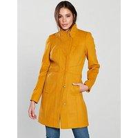 V by Very Funnel Neck Coat, Mustard, Size 18, Women
