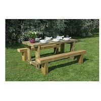 Product photograph showing Forest Refectory Garden Table And 2 Benches - 1 8m
