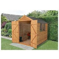 Forest 8 X 6Ft Overlap Apex Shed With Windows And Double Door