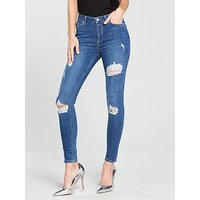 V by Very Ella High Waisted Ripped Skinny Jean - Light Wash , Light Wash, Size 8, Women