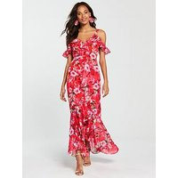 V by Very Sweetheart Neck Frill Maxi Dress - Red Print, Red Print, Size 8, Women