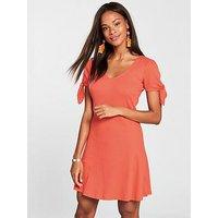 V by Very Jersey Rib Shift Dress - Paprika, Paprika, Size 12, Women