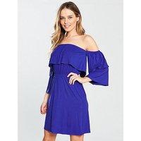 V by Very Tiered Bardot Jersey Dress, Blue, Size 16, Women