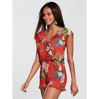 V by Very Frill Jersey Playsuit, Tropical Red, Size 16, Women