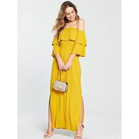 V by Very Tiered Jersey Maxi Dress, Yellow, Size 22, Women