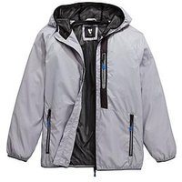 V by Very Boys Light Weight Tech Jacket, Grey, Size Age: 16 Years