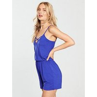 V by Very Cross Front Playsuit - Blue, Blue, Size 14, Women