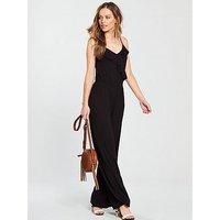 V by Very Frill Strappy Jersey Jumpsuit - Black, Black, Size 14, Women