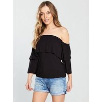 V by Very Tiered Floaty Jersey Top - Black, Black, Size 12, Women