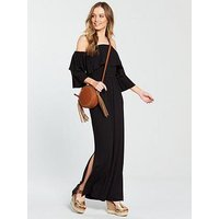 V by Very Tiered Jersey Maxi Dress - Black, Black, Size 8, Women