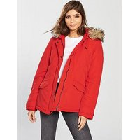 Vila Must Short Parka Jacket with Faux Fur Hood, Red, Size S, Women