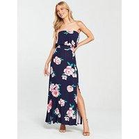V by Very Sleeveless Split Jersey Maxi Dress - Floral Print, Navy Floral, Size 20, Women
