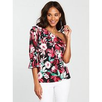 V by Very One Sleeve Frill Top - Floral Print, Print, Size 14, Women