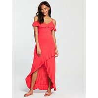 V by Very Frill Dip Hem Jersey Maxi Dress - Bright Pink, Bright Pink, Size 18, Women