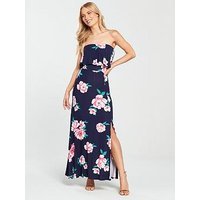 V by Very Bandeau Split Jersey Maxi Dress - Floral Print, Navy Floral, Size 24, Women