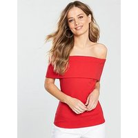 V by Very Bardot Ponte Top - Red, Red, Size 10, Women