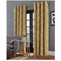 Product photograph showing Catherine Lansfield Aztec Lined Eyelet Curtains
