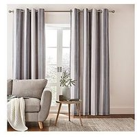 Catherine Lansfield Catherine Lansfield Herringbone Stripe Lined Eyelet Curtains 66X72