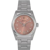 Rolex Rolex Pre-Owned Midsize Oyster Perpetual Salmon 3, 6 and 9 Dial Stainless Steel Mens Watch Ref 67180, One Colour, Men