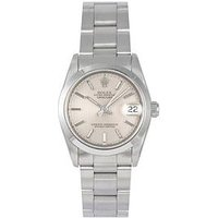 Rolex Rolex Pre-Owned Midsize Datejust Silver Pinstripe Dial Stainless Steel Mens Watch Ref 68240, One Colour, Men