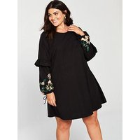 JUNAROSE Cheryl Embroidered Sleeve Shift Dress - Black, Black Beauty, Size 22, Women