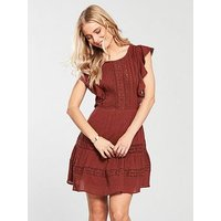 V by Very Lace & Trim Day Dress - Rust, Rust, Size 20, Women