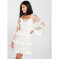 V By Very Embroidered Crochet Trim Dress - Ivory