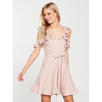 V by Very Cold Shoulder Tie Waist Linen Dress - Stripe, Stripe, Size 16, Women